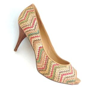 Nine West Kendra Rainbow Straw Woven Peep Toe 7.5